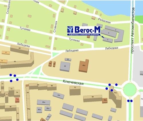 ВЕГОС М сеть строительных магазинов - схема проезда.